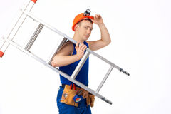 Construction worker with step-ladder Stock Images
