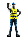 Construction worker stop gesture safety vest silhouette Stock Image