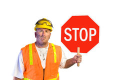 Construction worker with stop sign Stock Image