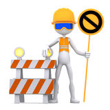 Construction worker with STOP sign Stock Photography