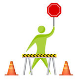 Construction Worker with Stop Sign Royalty Free Stock Image