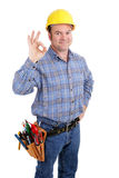 Construction Worker Success. Authentic construction worker giving the A-okay sign for success.  Isolated on white Stock Photos