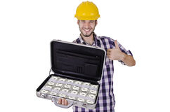 Construction worker full of cash Stock Image