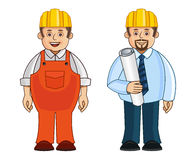 A construction worker and supervisor. A set of a construction worker and his supervisor with a blue print of the construction plan on a paper Royalty Free Stock Photos