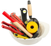 Construction worker supplies including hard hat Royalty Free Stock Images