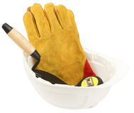 Construction worker supplies including hard hat Stock Image