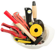 Construction worker supplies including hard hat Royalty Free Stock Photography