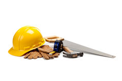Construction worker supplies on white royalty free stock photography