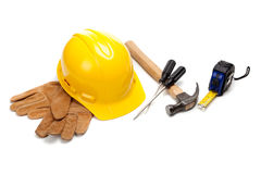 Construction worker supplies on white Royalty Free Stock Photo
