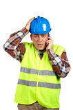 Construction worker with surprised expression royalty free stock images