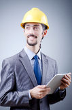 Construction worker with tablet Stock Photo