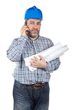 Construction worker talking with phone Stock Photography
