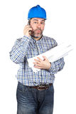 Construction worker talking with phone Stock Photos