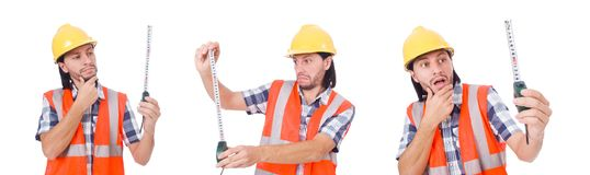 The construction worker with tape-line isolated on white. Construction worker with tape-line isolated on white Royalty Free Stock Photos