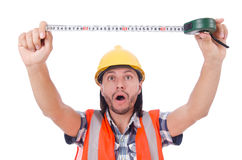 Construction worker with tape-line isolated on. Construction worker with tape-line on white stock photo