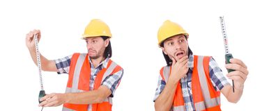 The construction worker with tape-line isolated on white. Construction worker with tape-line isolated on white Stock Images
