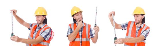 The construction worker with tape-line isolated on white. Construction worker with tape-line isolated on white Stock Photo