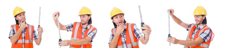 The construction worker with tape-line isolated on white. Construction worker with tape-line isolated on white Royalty Free Stock Photography