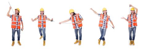 Construction worker with tape-line isolated  on white. Foreman with tape-measure isolated on white Royalty Free Stock Image