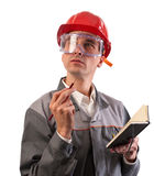 Construction worker thinking Royalty Free Stock Photos