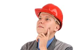 Construction worker thinking Stock Image