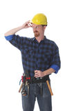 Construction worker thinking Stock Photo