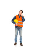 Construction worker thinking. Stock Photography