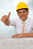 Construction worker with thumbs up Royalty Free Stock Photos