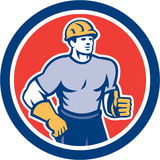 Construction Worker Thumbs Up Circle Retro Stock Photo