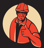 Construction Worker Thumbs Up Retro Royalty Free Stock Image
