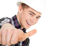 Construction worker with thump up Stock Photography
