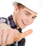 Construction worker with thump up Royalty Free Stock Image