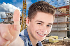 Construction worker with thumps up Stock Photos
