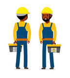 Construction worker with tool bag. Isolated against white background. Vector illustration. Royalty Free Stock Photography