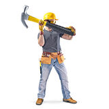 Construction worker with tool belt and hammer. On white background stock images