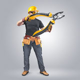 Construction worker with tool belt and pliers. On a gray background Royalty Free Stock Photography