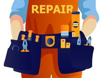 Construction worker with tool belt. Vector flat style illustration repairman isolated. royalty free illustration