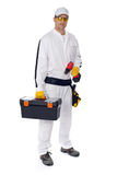 Construction worker with a tool box crew driwer Royalty Free Stock Photos
