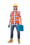 Construction worker with tool box isolated on Royalty Free Stock Images