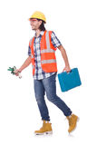 Construction worker with tool box isolated on Stock Photos