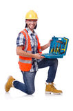 Construction worker with tool box isolated on Stock Photography