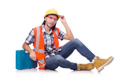 Construction worker with tool box isolated on Royalty Free Stock Image