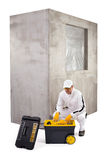 Construction worker with toolbox and cement wall on white backgr Stock Images