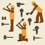 Construction worker and tools silhouette icons set.  Design suitable and  . Construction tools and worker silhouette icons set. Laborer in different operations Royalty Free Stock Photos