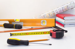 Construction worker tools Stock Photo