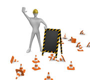 Construction worker with traffic cones and board Royalty Free Stock Images
