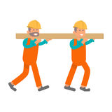 Construction worker, two laborers Royalty Free Stock Image