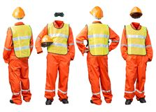 Construction worker uniform. In various action isolated on white background Royalty Free Stock Image