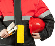 Construction worker in uniform with tools Stock Photography