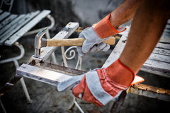 Construction Worker Using Royalty Free Stock Photography